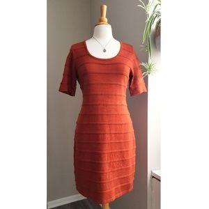 Calvin Klein | Burnt Orange Ribbed Fitted Dress